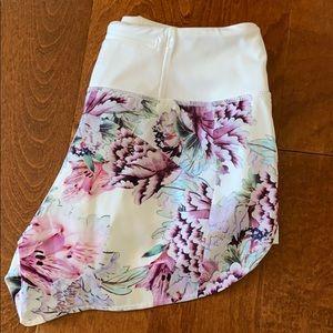 White floral Athleta athletic shorts!